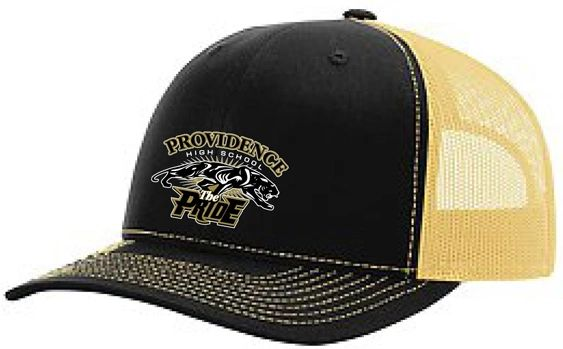 G. The Pride logo Trucker hat with black front, vegas gold mesh back