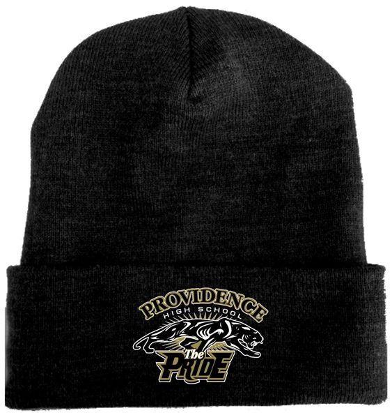 """I. Knit cap, 12"""" with foldover, PHS """"The Pride"""" Band logo embroidered front"""