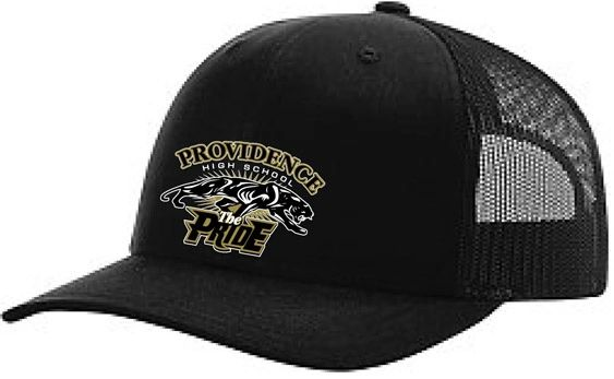 H. The Pride logo Trucker hat with black cap with black mesh back