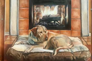 """Dragon Loves His Fireplace"" 2020 9"" X 12"" Oil on Canvas Jennifer Langley"
