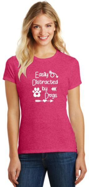 Easily Distracted by Dogs Ladies T-shirt