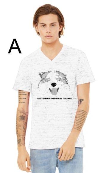 Australian Shepherds Furever V-Neck Unisex T-Shirt in White Marble