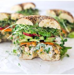 Monday Delivery Vegan Chickpea Salad Bagel Sandwich