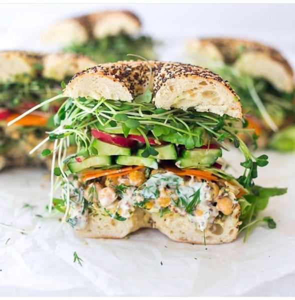 Monday Delivery Chickpea Salad Bagel Sandwich