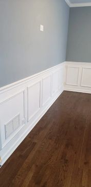 Custom Wainscot on a new wall that separates the kitchen pantry and office in Lake Forest, Illinois
