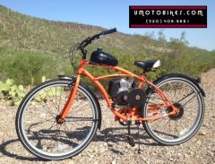 "DO-IT-YOURSELF U-MOTO 29"" 4-STROKE TROPICAL STORM (TM) CRUISER MOTORIZED BICYCLE SYSTEM WITH BELT-DRIVE TRANSMISSION"