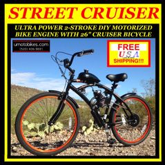 DO-IT-YOURSELF U-MOTO 2-STROKE STREET CRUISER MOTORIZED BICYCLE SYSTEM