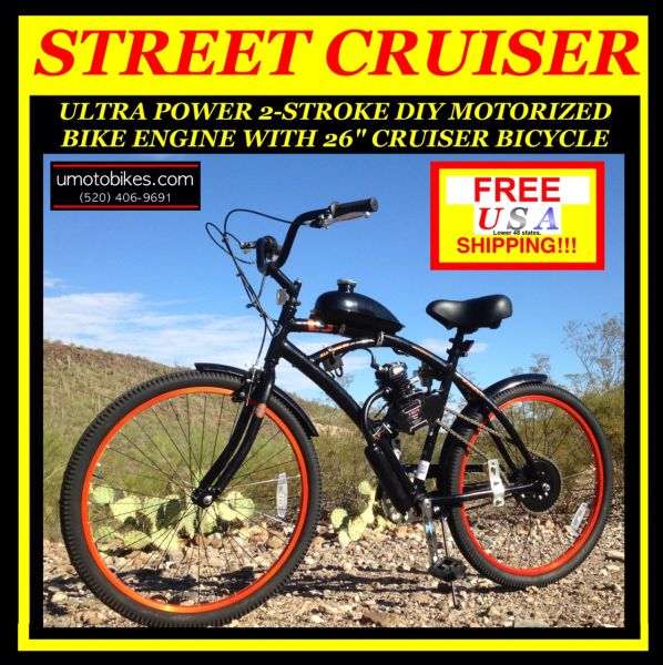 DO-IT-YOURSELF U-MOTO 2-STROKE STREET CRUISER MOTORIZED BICYCLE SYSTEM