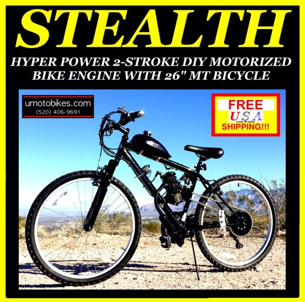 DO-IT-YOURSELF U-MOTO 2-STROKE STEALTH (TM) MOTORIZED MOUNTAIN BIKE SYSTEM