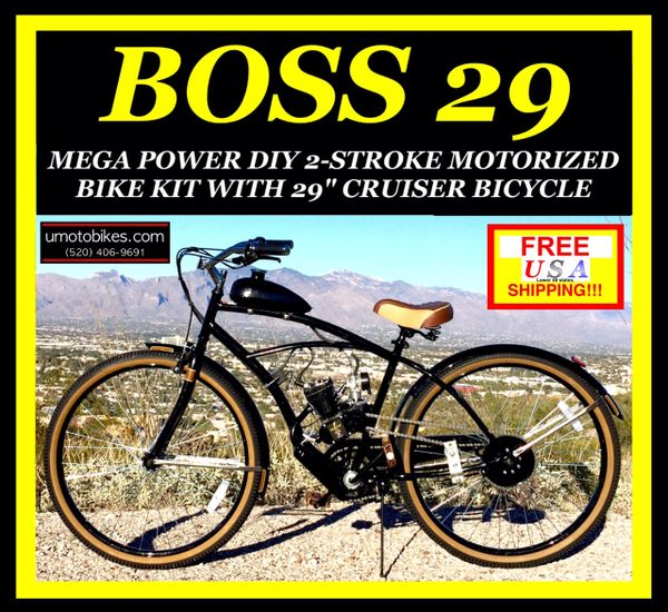 "29"" DO-IT-YOURSELF U-MOTO 2-STROKE BOSS 29 (TM) CRUISER MOTORIZED BICYCLE SYSTEM"