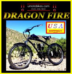 FULLY-MOTORIZED DRAGON FIRE 2G (TM) 2-STROKE EXTENDED CRUISER BLACK