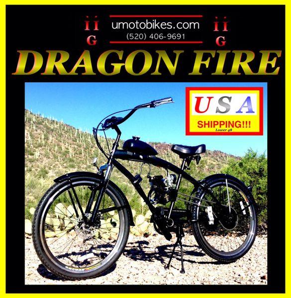 FULLY-MOTORIZED DRAGON FIRE 2G (TM) 2-STROKE EXTENDED CRUISER BLACK