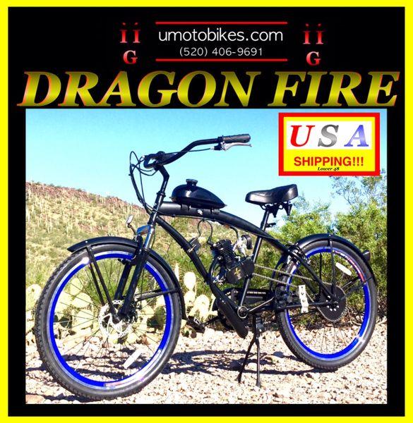 FULLY-MOTORIZED DRAGON FIRE 2G (TM) 2-STROKE EXTENDED CRUISER BLUE