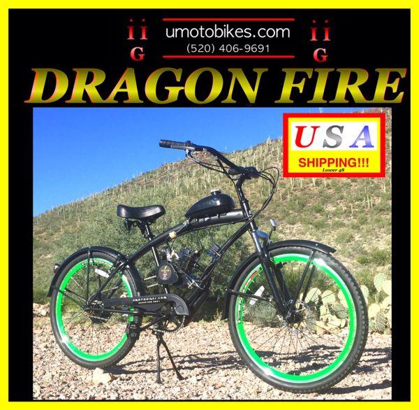 FULLY-MOTORIZED DRAGON FIRE 2G (TM) 2-STROKE EXTENDED CRUISER GREEN
