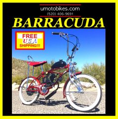 "DO-IT-YOURSELF U-MOTO 2-STROKE BARRACUDA-(TM) 20"" LOW RIDER CRUISER MOTORIZED BICYCLE SYSTEM"