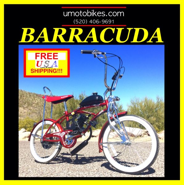 "DO-IT-YOURSELF U-MOTO 2-STROKE BARRACUDA-(TM) 20"" LOW RIDER CRUISER MOTORIZED BICYCLE SYSTEM"