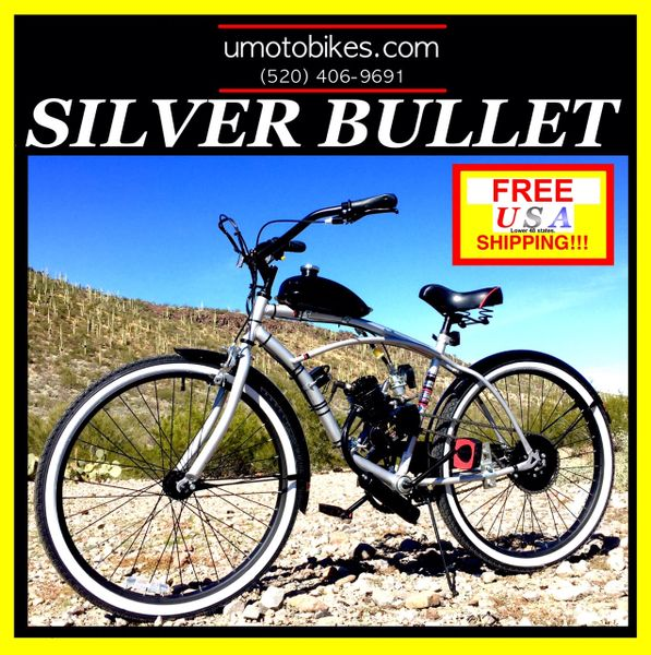 DO-IT-YOURSELF U-MOTO 2-STROKE SILVER BULLET (TM) MOTORIZED BICYCLE SYSTEM