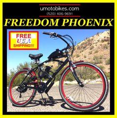 DO-IT-YOURSELF U-MOTO 2-STROKE FREEDOM PHOENIX (TM) 7 SPEED CRUISER MOTORIZED BICYCLE SYSTEM