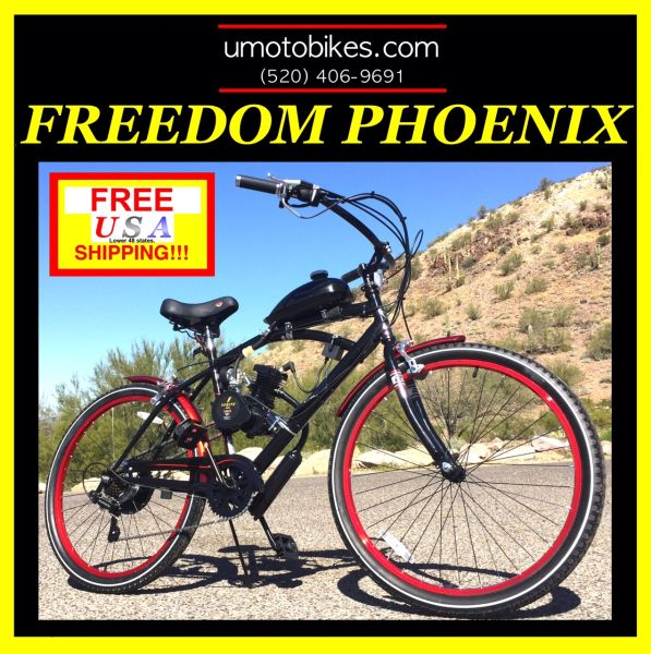DO-IT-YOURSELF U-MOTO 2-STROKE FREEDOM PHOENIX (TM) 7 SPEED CRUISER  MOTORIZED BICYCLE SYSTEM