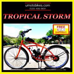 "29"" DO-IT-YOURSELF U-MOTO 2-STROKE TROPICAL STORM (TM) CRUISER MOTORIZED BICYCLE SYSTEM"