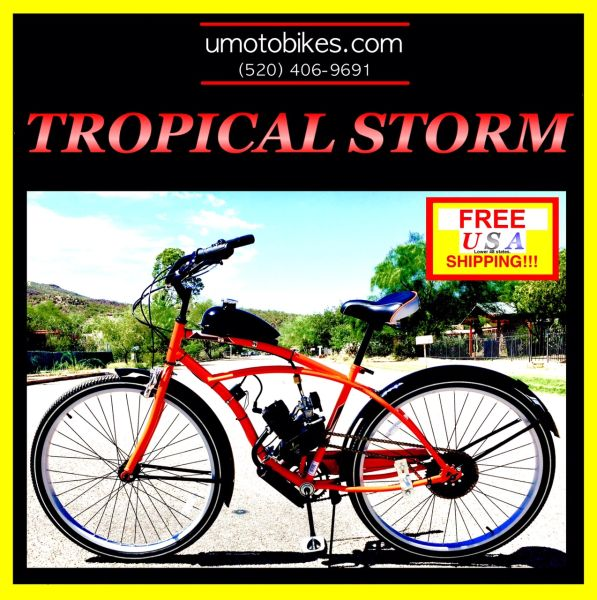 "29"" DO-IT-YOURSELF U-MOTO 2-STROKE TROPICAL STORM (TM) CRUISER MOTORIZED BICYCLE SYSTEM"