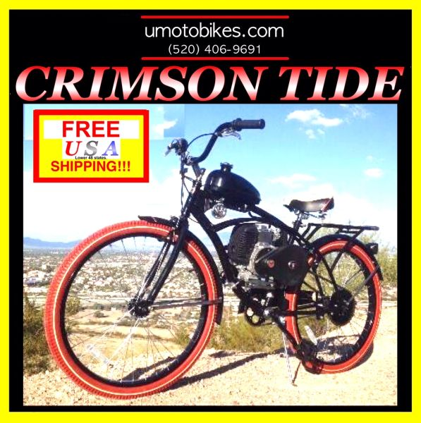 DO-IT-YOURSELF U-MOTO 4-STROKE CRIMSON TIDE (TM) CRUISER MOTORIZED BICYCLE SYSTEM WITH BELT-DRIVE TRANSMISSION