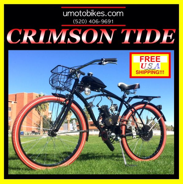 DO-IT-YOURSELF U-MOTO 2-STROKE CRIMSON TIDE (TM) CRUISER MOTORIZED BICYCLE SYSTEM