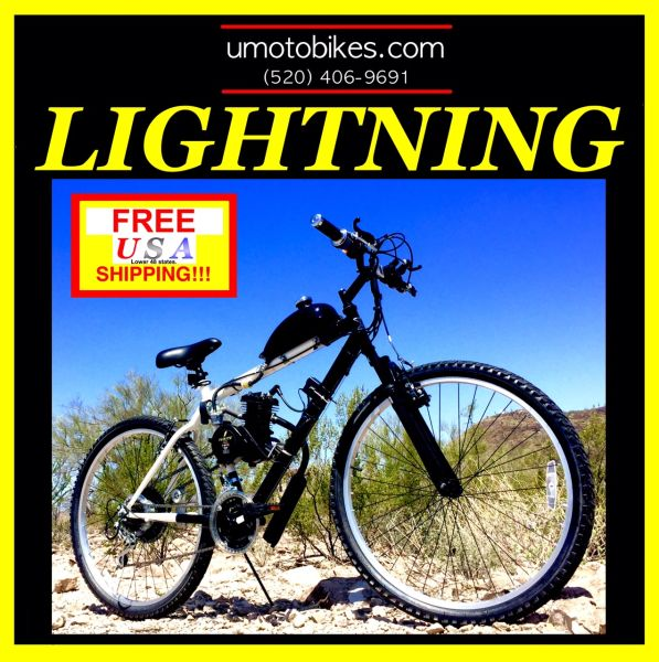 DO-IT-YOURSELF U-MOTO 2-STROKE LIGHTNING (TM) MOTORIZED MOUTAIN BIKE SYSTEM