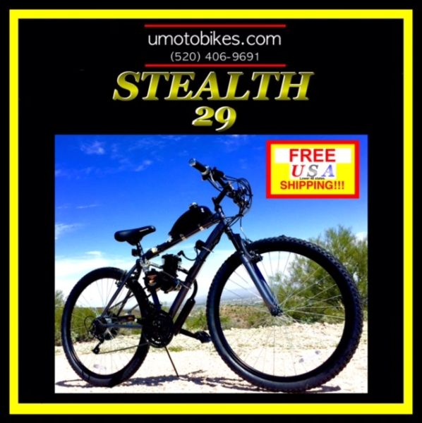 DO-IT-YOURSELF U-MOTO 2-STROKE STEALTH 29 (TM) MOTORIZED MOUNTAIN BIKE SYSTEM
