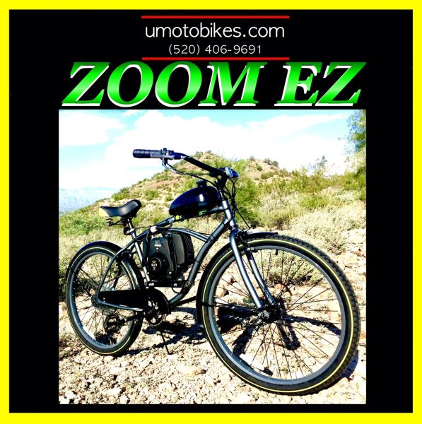 DO-IT-YOURSELF U-MOTO 4-STROKE ZOOM EZ (TM) CRUISER MOTORIZED BICYCLE SYSTEM WITH BELT-DRIVE TRANSMISSION