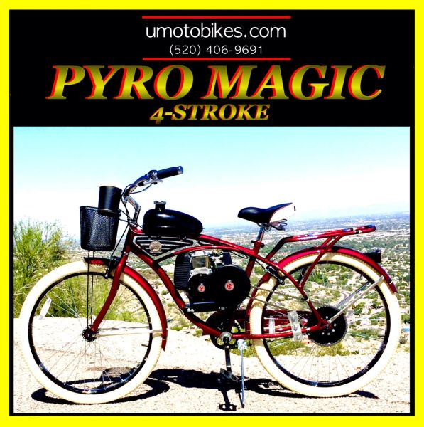 DO-IT-YOURSELF U-MOTO 4-STROKE PYRO MAGIC (TM) CRUISER MOTORIZED BICYCLE SYSTEM WITH BELT-DRIVE TRANSMISSION