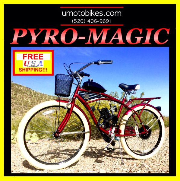 DO-IT-YOURSELF U-MOTO 2-STROKE PYRO MAGIC (TM) DELUXE CRUISER MOTORIZED BICYCLE SYSTEM
