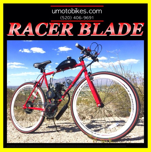 DO-IT-YOURSELF U-MOTO 2-STROKE RACER BLADE (TM) MOTORIZED BICYCLE SYSTEM