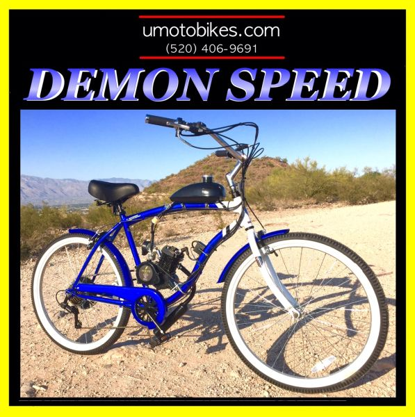 DO-IT-YOURSELF U-MOTO 2-STROKE DEMON SPEED (TM) CRUISER MOTORIZED BICYCLE SYSTEM