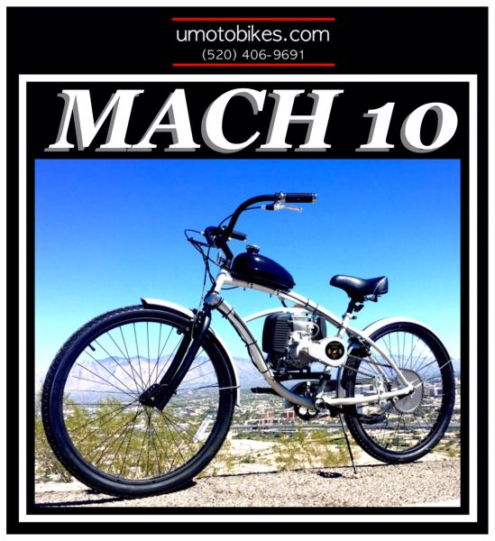 DO-IT-YOURSELF U-MOTO 4-STROKE MACH 10 (TM) CRUISER MOTORIZED BICYCLE SYSTEM