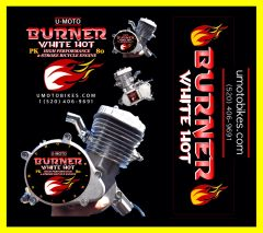 U-MOTO BURNER (TM) 66/80CC WHITE HOT TM HIGH PERFORMANCE 2-STROKE BICYCLE MOTOR KIT