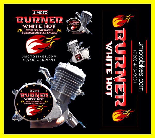 U-MOTO BURNER (TM) 66/80CC WHITE HOT TM HIGH PERFORMANCE 2-STROKE BICYCLE MOTOR KIT