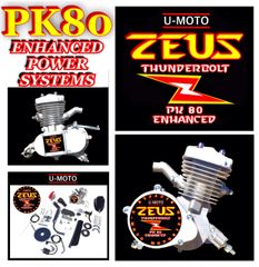 U-MOTO ZEUS THUNDERBOLT (TM) 66CC/80CC ENHANCED 2-STROKE BICYCLE MOTOR KIT