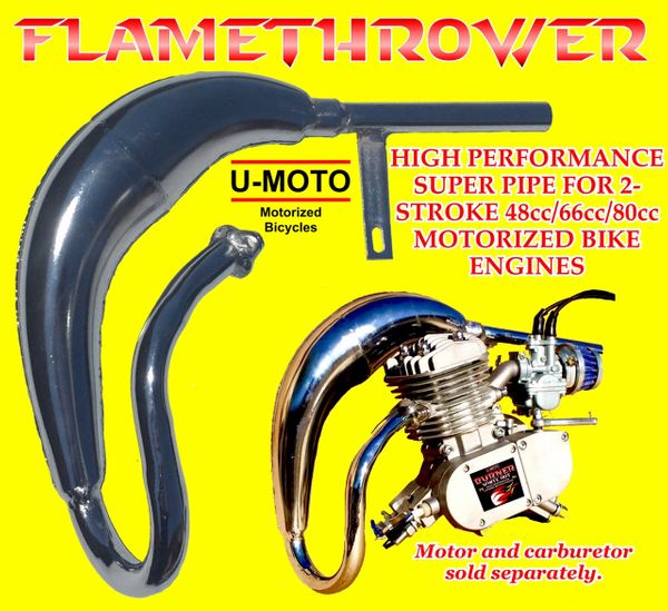 2-STROKE MOTORIZED BICYCLE FLAMETHROWER EXPANSION CHAMBER EXHAUST