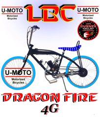 DO-IT-YOURSELF HIGH RISE BLUE DRAGON FIRE 4G LBC (TM) 2-STROKE GAS TANK FRAME BIKE BLUE