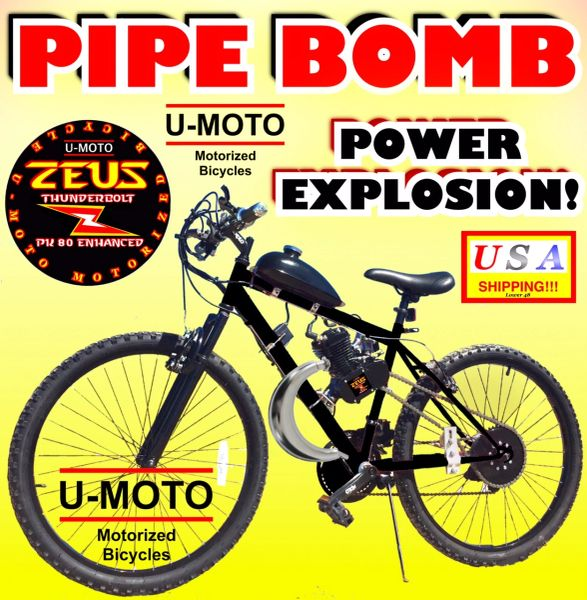 DO-IT-YOURSELF U-MOTO 2-STROKE PIPE BOMB (TM) MOTORIZED MOUNTAIN BIKE SYSTEM