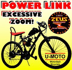 DO-IT-YOURSELF U-MOTO 2-STROKE POWER LINK (TM) MOTORIZED MOUNTAIN BIKE SYSTEM