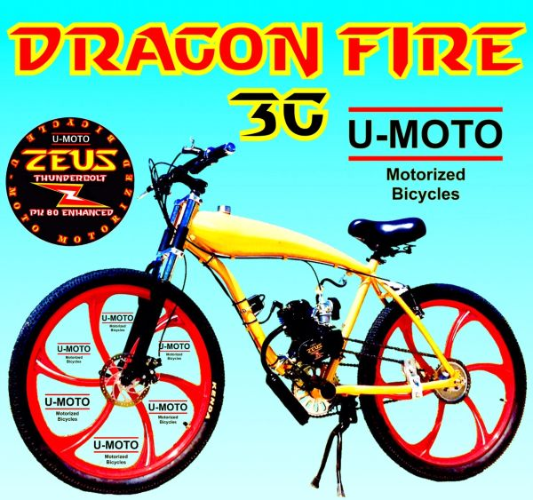 DO-IT-YOURSELF DRAGON FIRE 3G GOLDEN FLAMES (TM) 2-STROKE MOTORIZED GAS TANK BIKE