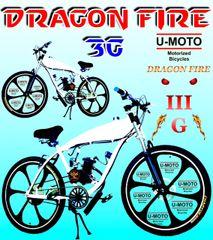 DO-IT-YOURSELF DRAGON FIRE 3G WHITE ICE POWER (TM) 2-STROKE MOTORIZED GAS TANK BIKE
