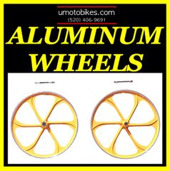 "26"" DARK YELLOW ALUMINUM WHEELS FOR MOTORIZED BIKE"