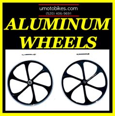 "26"" BLACK ALUMINUM WHEELS FOR MOTORIZED BIKE"