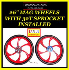 "26"" COMPLETE MAG WHEELS FOR MOTORIZED BIKE"