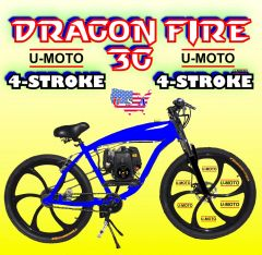 FULLY-MOTORIZED DRAGON FIRE 3G (TM) 4-STROKE EXTENDED GAS TANK FRAME CRUISER