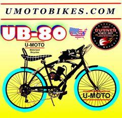 DO-IT-YOURSELF U-MOTO 2-STROKE UB-80 (TM) 7 SPEED CRUISER MOTORIZED BICYCLE SYSTEM