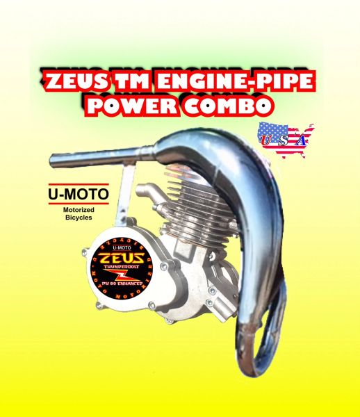 ZEUS (TM) 66CC/80CC 2-STROKE BICYCLE MOTOR FLAMETHROWER POWER PIPE COMBO